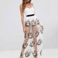 Rare London Sweetheart Body Maxi Dress With Embroidered Skirt at asos.com