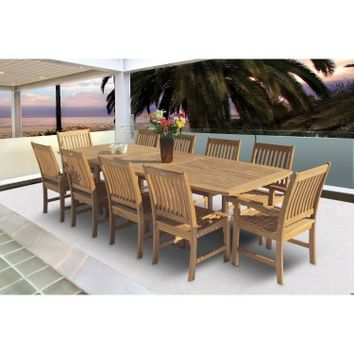 Royal Teak 96 - 120 in. Family Rectangle Extension Compass Patio Dining Set - Seats 10 | www.hayneedle.com