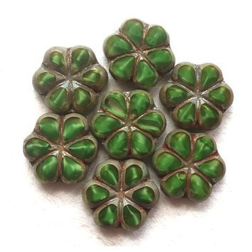 Lot of six Czech glass flower beads, 15mm table cut, carved, opaque, marbled forest or hunter green silk with a silver picasso finish C34106