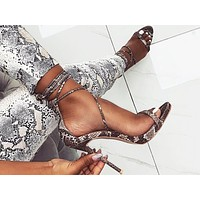 Fashionable Sexy Open-toed Cross-strapped Serpentine Super High-heeled Sandals