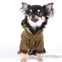 Dog Clothes Green and Brown Houndstooth casual Hoodie M
