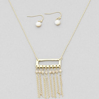 Dottie Rectangle Fringe Necklace Set