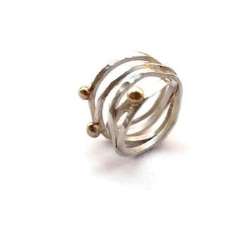 Silver wire ring, silver ring with bronze, silver ring hammered, womens jewelry