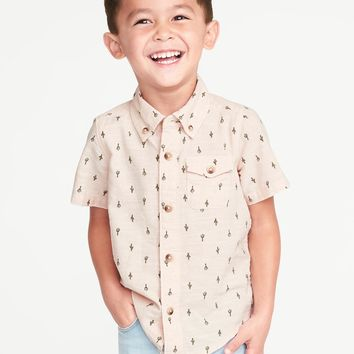 Printed Slub-Weave Shirt for Toddler Boys|old-navy