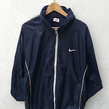 Vintage NIKE Blue Windbreaker Lightweight trainer track Nylon Casuals Hoodie Parka Windbreaker Bomber Jacket