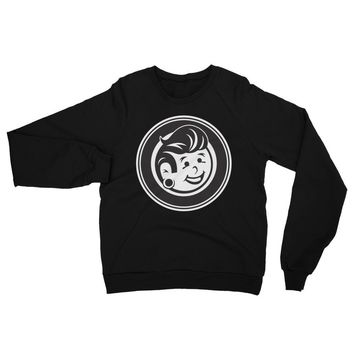 Plug Boy Circle - Black - Unisex California Fleece Raglan Crewneck Sweatshirt