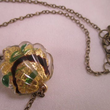 Green 24kt Gold Foil Miro Shells Murano Glass Necklace Glass Shell Necklace Beach Jewelry