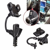 ELEGIANT Adjustable Dual 2 USB Ports Car Cigarette Lighter Charger Mount Holder Cradle