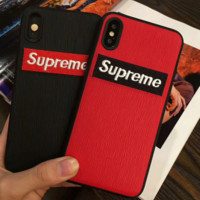 Trendy Supreme Embroidery Iphone X 8 8 Plus Cover Case in Black & Red