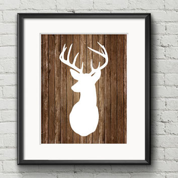 White Deer With Antlers Silhouette On Rustic Aged Wood Background - Art Print Gift Item Home Decor