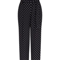 Black Spot Print Tie Waist Trousers | New Look