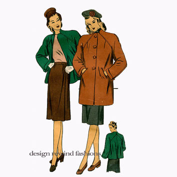 1940s COAT & SKIRT PATTERN Flared-Back Coat Jacket Pattern Wrap-Front Skirt Bust 36 Hollywood Patterns 1647 Vintage Womens Sewing Patterns