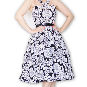 Goddess Pin Up Swing Dress in Black & White Damask