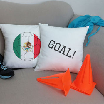Set of 2 Mexico Soccer Team Pillows - Cotton Canvas Covers and/or Cushions - 14x14 and 16x16