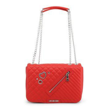 fdd0be03cd3 Love Moschino Designer Heart Emblem Red Quilted Chain Link Bag