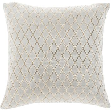 Verona Velvet White on White Throw Pillow