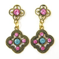 Gold Boho Earrings with Pink and Aqua Rhinestones Four Leaf Clover Ornate Vintage Style Earrings