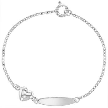 """925 Sterling Silver Baby Tag ID Identification Heart Charm Bracelet Toddler 5"""""""