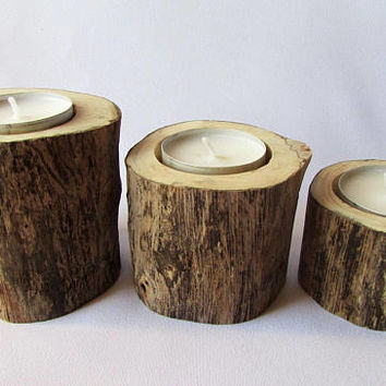 Driftwood Tealight Holders, Rustic Wooden Candleholders, Driftwood Art, Tea Candle Holder, Seaside Design Decor
