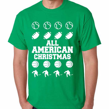 Men's T Shirt All American Christmas Sport Fans Holiday Gift