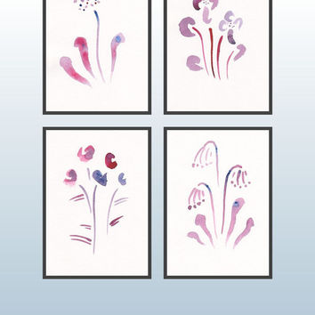 Art set of four sketches in purple tones. Watercolor flower illustrations. Primrose, globeflower, violet. Floral home decor.