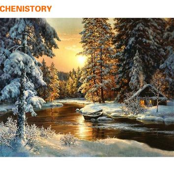 CHENISTORY Sunset Forest DIY Painting By Numbers Canvas Wall Art Picture Painting Calligraphy For Living Room Home Decor 40x50cm
