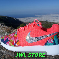 custom nike roshe run shoes with fabric floral coral color sneakers blinged with swarovski crystals womens nike shoes nike sneakers