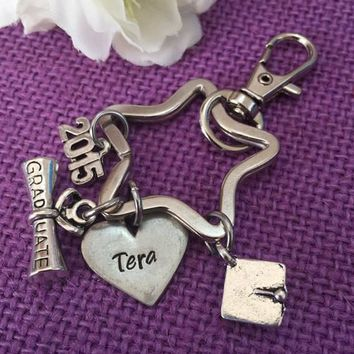 Graduation Gift - Graduation Keychain - Class of 2015 - Graduation Jewelry - Personalized Keychain - Custom Keychain - Gift for Grad