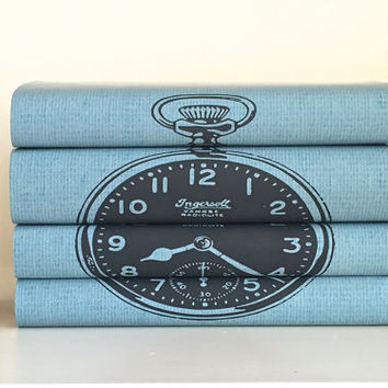 Decorative books -  Blue books - Book art - Clock Book - Custom book covers - Interior Design - Custom book jackets - Bookcase Decor - Books