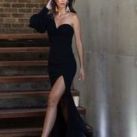 Black One Shoulder Puff Sleeve Gown