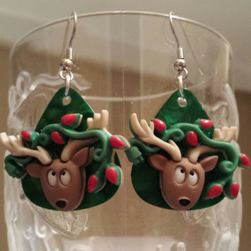 Christmas Jewelry - Guitar Pick Jewelry by Betsy's Jewelry - Reindeer - Christmas - Holiday