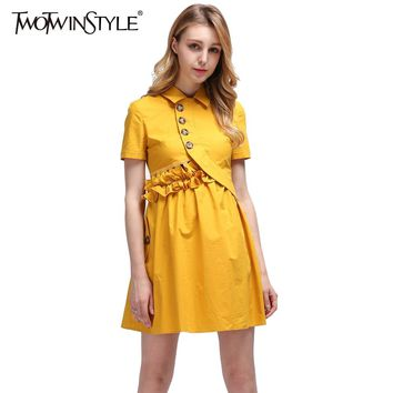 TWOTWINSTYLE Ruffle Backless Summer Dresses Women Sexy Evening Party Dress Mini Short Sleeve Female Tunic Clothes Big Sizes