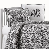 Black and White Damask Dorm Comforter + Sham
