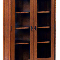 Arts & Crafts Mission Style Furniture Solid Oak Double Glass Door Bookcase