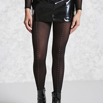 Semi-Sheer Studded Tights