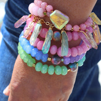 Wrap bracelet, pastel jade and agate beads, spiral form