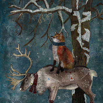 Winter Tale - Giclee Print /// Fox and Reindeer, Whimsical Art, Winter Illustration, Winter Wonderland, Fairytale, Christmas, Snow, Nursery
