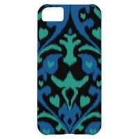 Bold ikat pattern in blue green and black