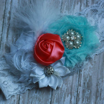 CORAL HEADBAND, aqua, shabby, over the top, baby girl, toddler, beach, flower, silk, lace, rhinestone, pearl, birthday, pageant, couture