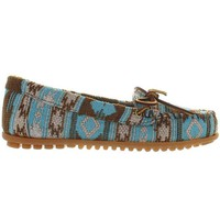 ONETOW Minnetonka Baja - Turquoise Multi Printed Fabric Moccasin Loafer