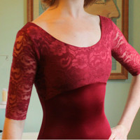 The Jacqueline Leotard with lace sleeves by LoneReedDesigns
