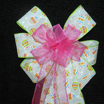 Easter Egg Decorative Bow with hot pink center