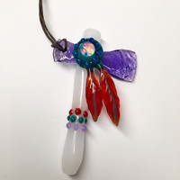 Sacred Blade Tomahawk Chillum Pendant Pipe White and purple glass with large opal peyote dots and feathers