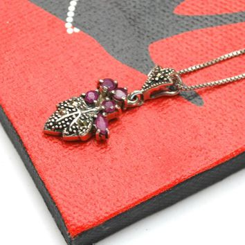 Sterling Ruby Marcasite leaf necklace - sterling  silver italy Box chain