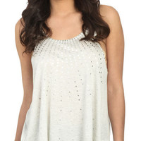Printed Foil Sequins Tank - Teen Clothing by Wet Seal