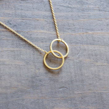 Tiny minimalist chic forever linked together gold plated circles link necklace, entwined circles, interlocking circles