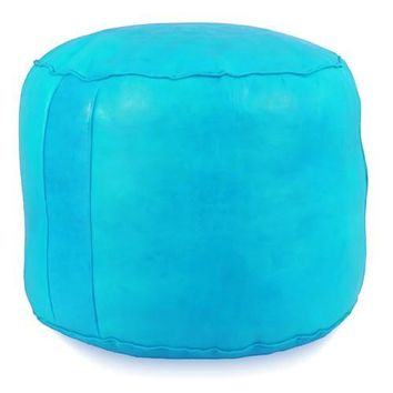Sky Blue Tabouret Fez Pouf Round Genuine Leather