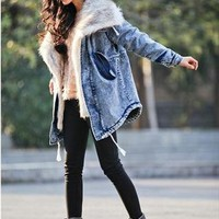 Blue washed denim removable faux fur collar coat from SweetiePie524