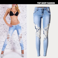 Stretch Ripped Holes Lace Women's Fashion Denim Pants Skinny Pants [6365917188]