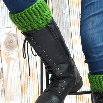 Green Boot Cuffs - Kelly Green Boot Socks - Boot Toppers - Winter Accessory - Boot Warmers - Fashion Accessory - Jeans Accessory